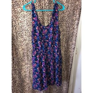 Blue Flowery Back Cut Out Dress